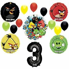 Angry Birds 3rd Birthday Party Supplies and Group See-Thru Balloon Decorations