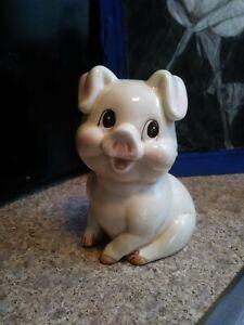 Vtg. Ceramic Piggy Pig Bank Painted  1960 Japan