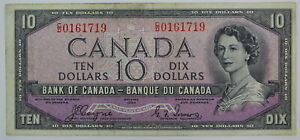 1954 BANK OF CANADA TEN DOLLAR C/D 0161719 DEVILS FACE BC-32a COYNE TOWERS NOTE