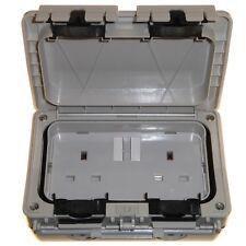 Outdoor Weatherproof IP56 Double Socket Easy Open Lid 2 Gang Outside Garden 13A