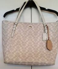 Authentic Coach Peyton Dream Tote Bag F27350  Taupe & White- strap need repaired