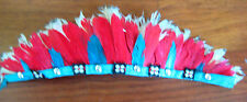 VINTAGE HAND MADE NATIVE AMERICAN FEATHER HEAD DRESS TOY ACCESSORY COLLECTABLE