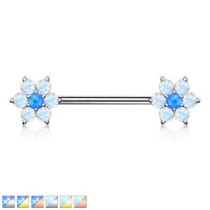 Opalite Petals with Opal Centre Flower Nipple Bar With Surgical Steel Barbell