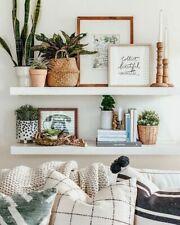 High gloss White Floating Wall Mounted Shelves bookcase shelving shelf Storage