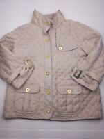 Chico's Women's Dress Jacket Size 2 Beige Quilted Button Up Q1