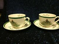 Spode England S3324 S Christmas Tree 35,40 Tea/Coffee/ Eggnog Cup and Saucer Set