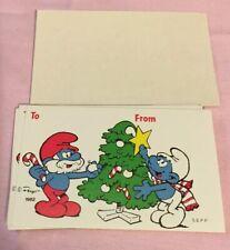 1982 Peyo Christmas Smurf Gift Tags Lot Of 10