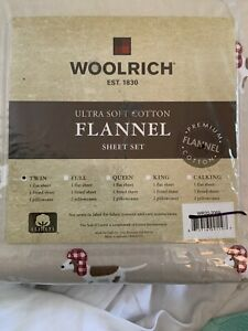 Woolrich Cozy Soft 100% Cotton Flannel Soft 2p Tan Dog Sheets TWIN New
