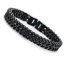 Mens 12MM Wide Double-row Curb Chain Bracelet Black Stainless Steel 9.1 Inches