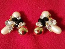 Collar Tips Gold Toned Embellished with White Faux Pearls, Black Rhinestones