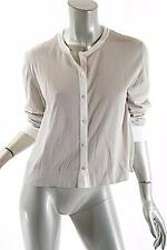 PASHMERE Stone 100% Cotton Cardigan Sweater w/White Trim -Soft- NWT - 44/M- $150