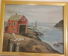 Canvas Painting,  Harbor with Boat house and horizon,  by Margaret Staple, 1968