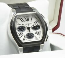 Cartier Roadster Chronograph Watch Auto Rubber W6206020 White Dial Box Paper