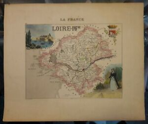 """Antique Loire Inf. Map from Atlas """"France and its Colonies"""" by A. Vuillemin"""