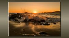 "LARGE SEASCAPE BEACH ROCK SUNSET WAVE CANVAS WALL PICTURE FLASH ART 30"" 20"" 0327"