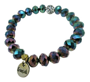 Erimish Stretch BRACELET Stack AB Rainbow Finish Pave Focal Faceted Glass Beads