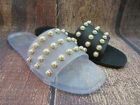 """Jelly Sandal """"AUGUSTA"""" Women's Slide Flat Flip Flop w/Pearls - Ann More"""