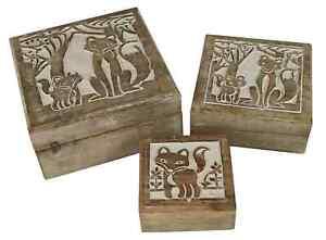 Shabby Chic Set of 3 Mango Wood Fox Trinket Jewellery Box