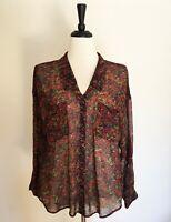 Free People M Medium Semi-Sheer Blouse Floral V Neck Shirt Button Down Women