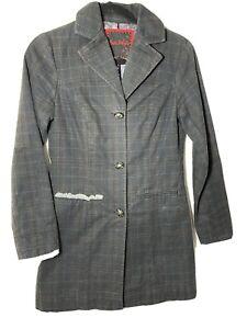 Free People Gray Plaid Blazer Size 2 Womens Paisley Stripe Tail