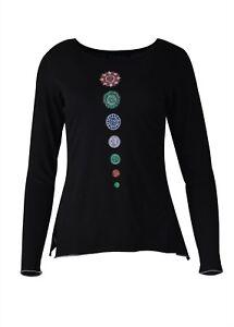TATTOPANI Women's Long Sleeve 7 Chakra Embroidery T-shirt Tops