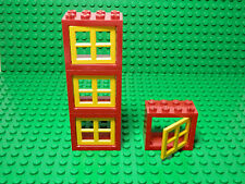LEGO LEGOS  -  Set of 4 NEW RED Window Frames 2x4x3 with YELLOW panes