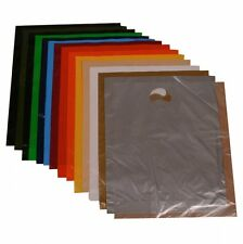 More details for plastic shopping carrier bags 15 x 18 x 3 patch handle red black purple green