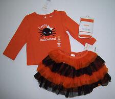 NWT Gymboree Halloween 18-24 Spider Tee Orange Black Tutu Skirt & Stripe Tights