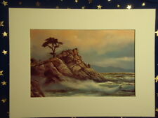 "Ocean Waves Rocks Tree Sky Verna Walden McCue Art Print 9x12"" Matted"