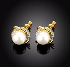 Ohrring Perle und Kristalle weiß in goldfarbiger Fassung Ohrstecker