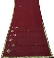 Damen Indien Sari Seide Mischung Diy Benutzt Craft Stoff Gestickt Saree SI8127