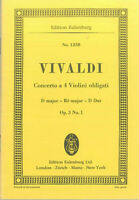 Taschenpartitur ~ Vivaldi : Concerto a 4 Violini obligato  D-Dur Op. 3 No 1