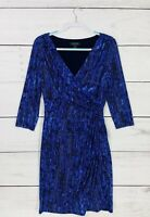 Ralph Lauren Cobalt Blue Black Formal Career Dress Sz 14 Professional Work