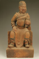 Old rare  Wood Handmade Buddha dharmaraja Statue Feng shui home deco