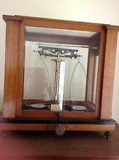antique solid brass and wood balance beam scale used in chemis 00004000 try -physics lab