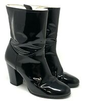Auth CHANEL Coco Mark CC Zipper Short Boots Heels #39C US 8 Patent Leather Black
