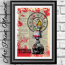 Mounted Zombie Alice in wonderland Print dictionary book page. Skull steampunk.