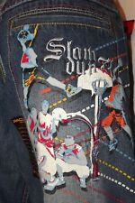 Mens Jeans Denim Slamdunk Basketball Artistic Embroidered New 30x30
