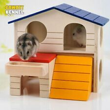 Hamster House Natural Wood Foldable Home for Small Pets Colorful Toy