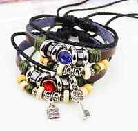 NEW 2PcsJewelry Fashion Infinity Leather Charm Bracelet Silver lots Beads Style