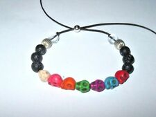 "BRACELET BLACK LAVA ROCK, DYED HOWLITE ""SKULL"" & QUARTZ beads adjustable leather"