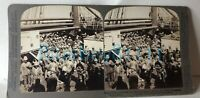 Boer War Stereo view Photo Card  British Soldiers on Troopship original