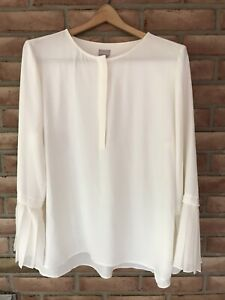 Chicos Long Bell Sleeve size 2 (12/14) Winter White top/blouse