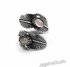 Silver Feather Boho Ring Gemstones Adjustable Double Rose Quartz Gemstone