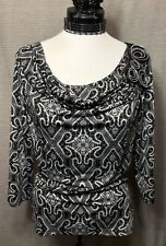 New Directions Women's Top Size Petite L Black and White