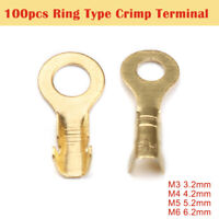 100pcs Brass Insulated Crimp Ring Terminals Wire Connectors Spade Electrical Kit