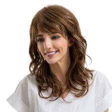 da donna moda sideswept FRANGIA capelli umani REALI MOSSI parrucchino M Full WIG