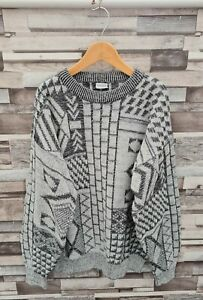MENS GREY VTG 90'S ACRYLIC ABSTRACT GEOMETRIC SOFT KNIT PULLOVER COSBY JUMPER M