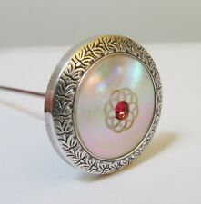 Antique Hatpin Mother of Pearl Red Rhinestone Hinged Finding Patent