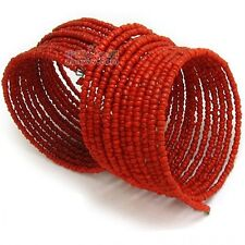 Beaded Coil Style Bracelet from Nepal 2Pcs- Adjustable Wide Tribal Red Coral